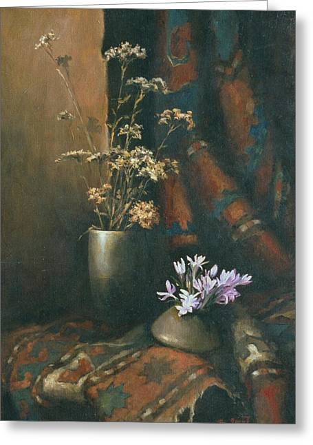 Still-life With A Rug Greeting Cards - Still-life with snow drops Greeting Card by Tigran Ghulyan