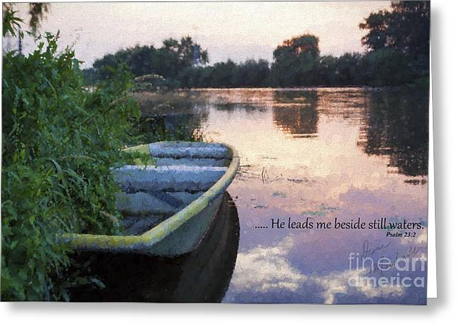 Reflections Of Trees In River Greeting Cards - Still Waters Greeting Card by Diane Macdonald