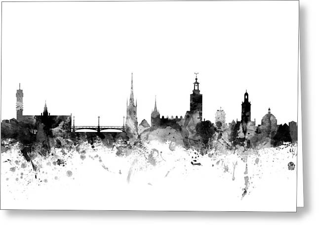 Sweden Digital Art Greeting Cards - Stockholm Sweden Skyline Greeting Card by Michael Tompsett