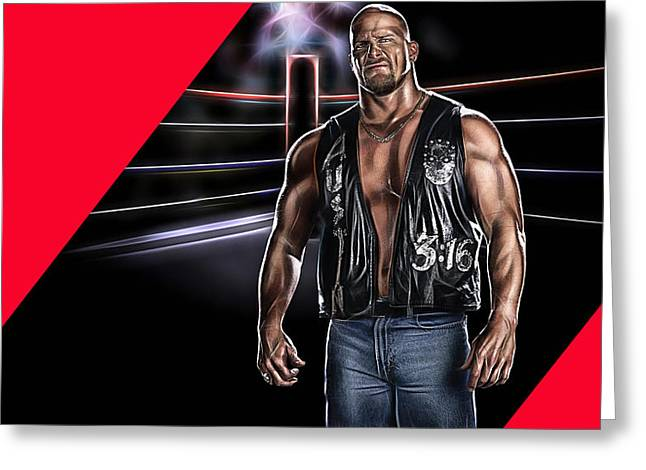 Stones Greeting Cards - Stone Cold Steve Austin Wrestling Collection Greeting Card by Marvin Blaine