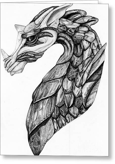 Dragon Concept Greeting Cards - Stone Dragon Greeting Card by Emma Spears