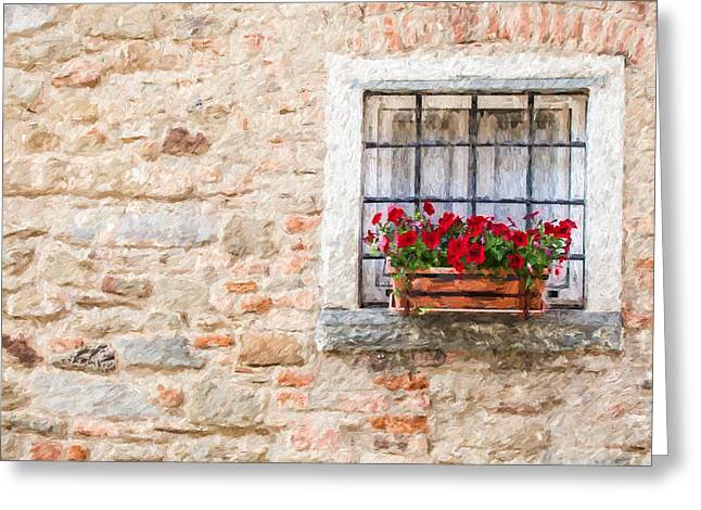 Italian Wine Greeting Cards - Stone Window of Cortona  Greeting Card by David Letts