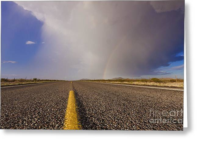 Ground Level Photographs Greeting Cards - Storm and Rainbow Along the Highway Greeting Card by Jeremy Woodhouse
