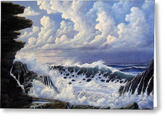 Ocean Reliefs Greeting Cards - Storm Approach Greeting Card by John Cocoris