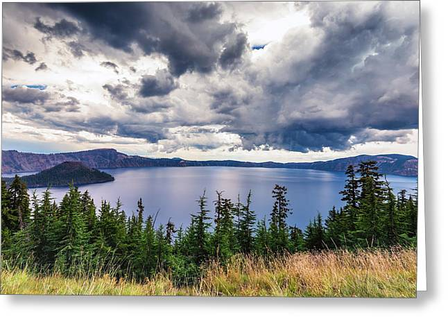 Conifer Tree Greeting Cards - Storm Clouds Greeting Card by Joseph S Giacalone