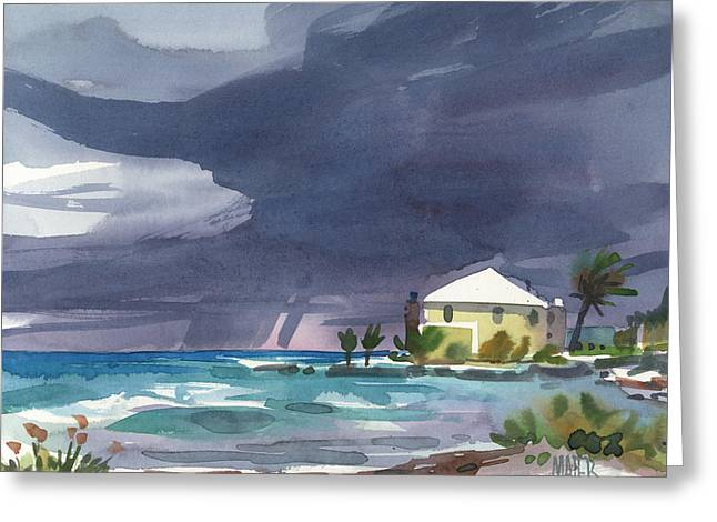 Thunder Paintings Greeting Cards - Storm Over Key West Greeting Card by Donald Maier