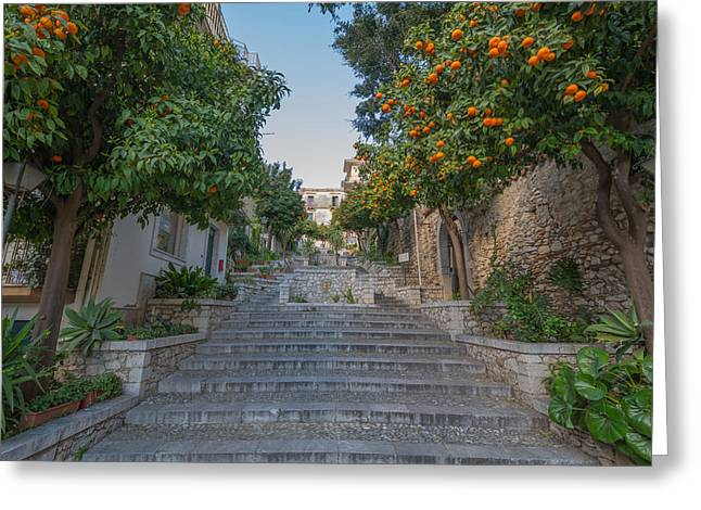 Grocery Store Greeting Cards - Stairway in Taormina with orange trees in Sicily Greeting Card by Benjamin Boeckle