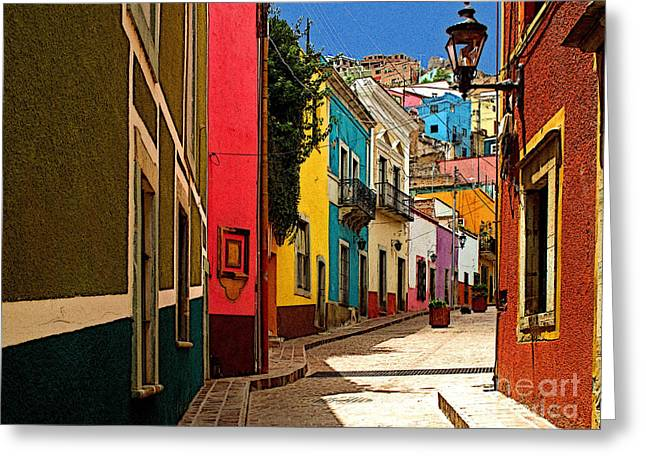 Portal Greeting Cards - Street of Color Guanajuato 2 Greeting Card by Olden Mexico