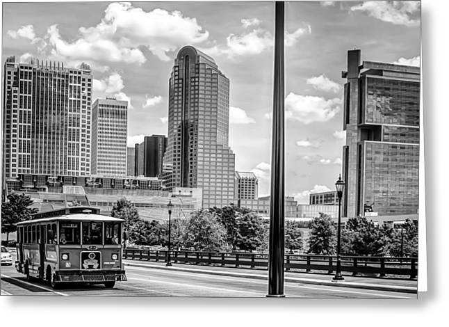 Charlotte Greeting Cards - Street Vew Charlotte City With Tour Bus Greeting Card by Alexandr Grichenko