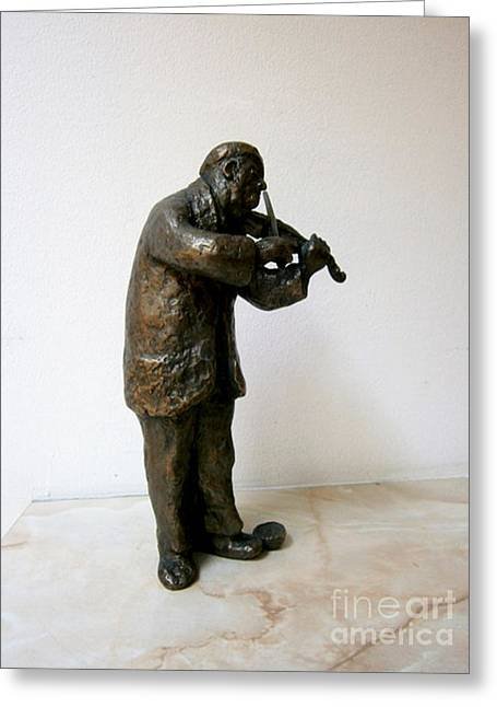 Collector Sculptures Greeting Cards - Street violinist Greeting Card by Nikola Litchkov