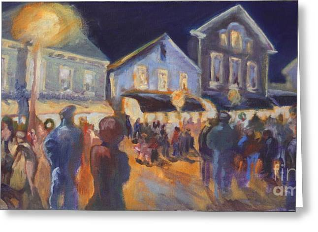 Streetlight Paintings Greeting Cards - Streetlights In Chester Greeting Card by B Rossitto