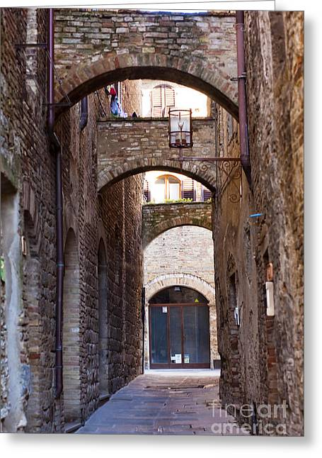 Tuscan Sunset Greeting Cards - Streets of San Gimignano Greeting Card by Andre Goncalves