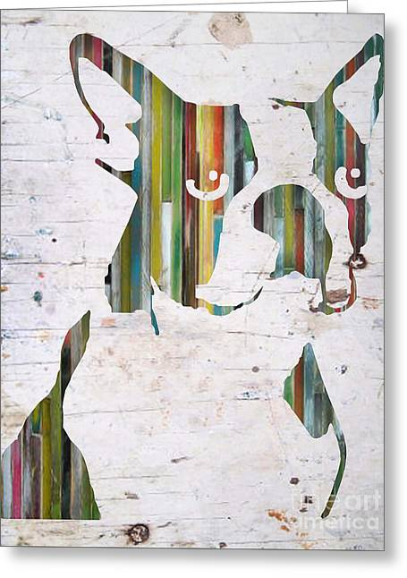 Boston Terrier Greeting Cards Greeting Cards - Striped Boston Greeting Card by Barbara  Campbell
