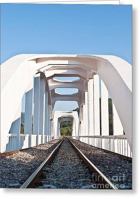 Famous Bridge Greeting Cards - structure of white train bridge northern Thailand Greeting Card by Rakop Tanyakam
