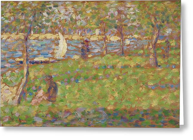 Study For La Grande Jatte Greeting Card by Georges Seurat