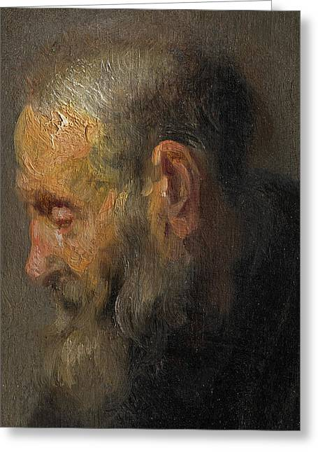Study Of An Old Man In Profile Greeting Card by Rembrandt