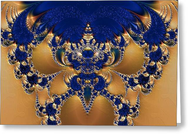 Gold Necklace Digital Art Greeting Cards - Stunningly Sapphire Greeting Card by Nancy  Bowen
