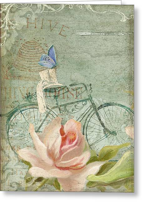 Chic Mixed Media Greeting Cards - Summer at Cape May - Bicycle Greeting Card by Audrey Jeanne Roberts