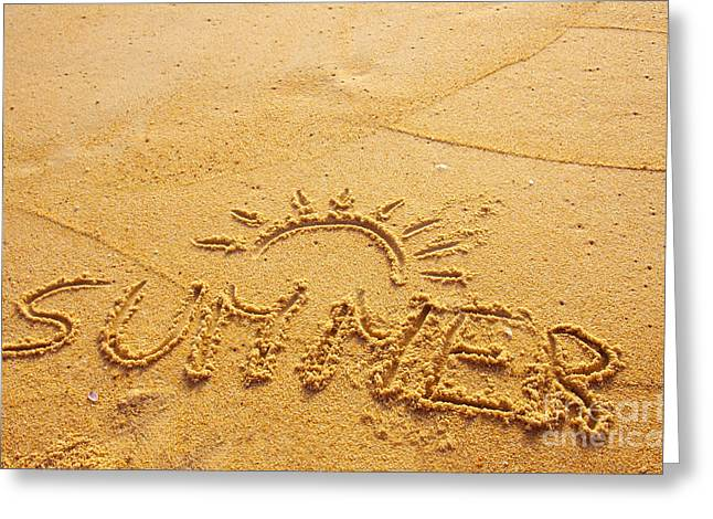 Background Greeting Cards - Summer Background Greeting Card by Carlos Caetano