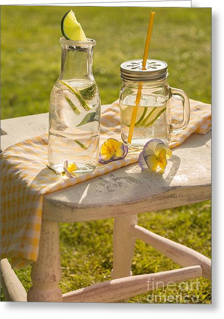 White Cloth Greeting Cards - Summer Drinks Greeting Card by Amanda And Christopher Elwell