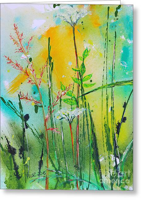 Plant Stretched Canvas Greeting Cards - Summer Meadow Greeting Card by Jutta Maria Pusl