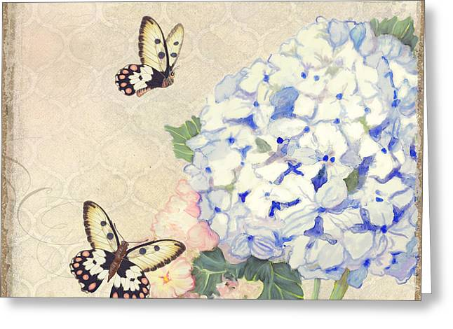 Postal Paintings Greeting Cards - Summer Memories - Blue Hydrangea n Butterflies Greeting Card by Audrey Jeanne Roberts