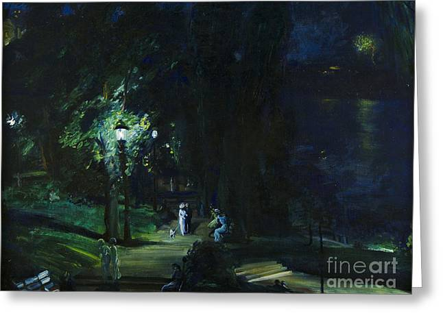 Summer Night Riverside Drive Greeting Card by MotionAge Designs