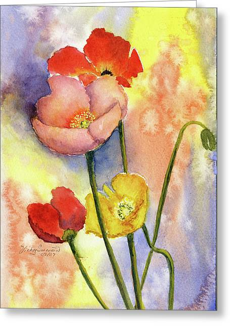Summer Poppies Greeting Card by Vickey Swenson