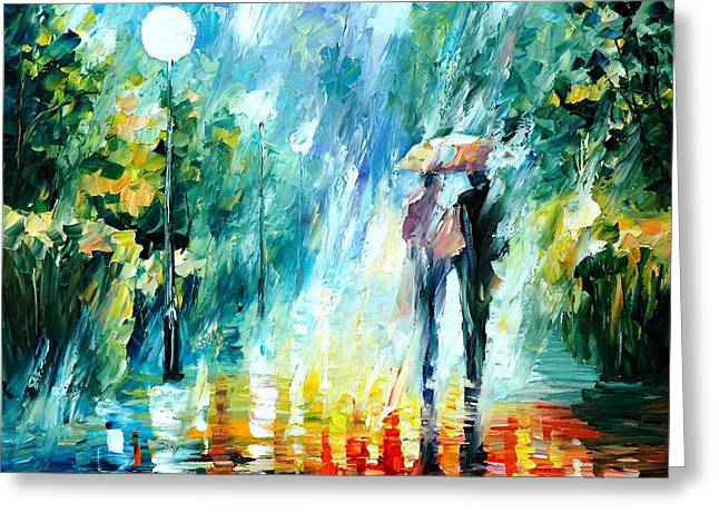 Popular Art Greeting Cards - Summer Rain - PALETTE KNIFE Oil Painting On Canvas By Leonid Afremov Greeting Card by Leonid Afremov