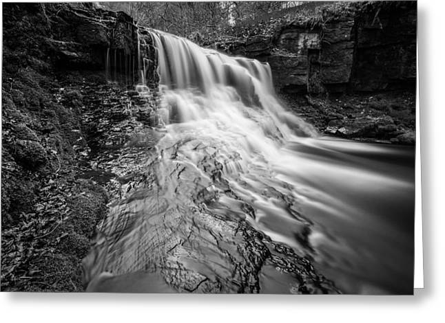 Summer Silky Flowing Waterfall In The Lancashire Woodland. Greeting Card by Daniel Kay