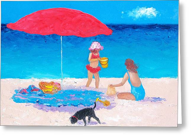 Dog Beach Print Greeting Cards - Summer Vacation Greeting Card by Jan Matson