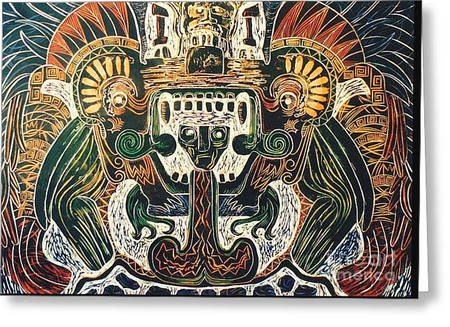 Linocut Greeting Cards - Sun God    6 of 6 Greeting Card by Pamela Iris Harden
