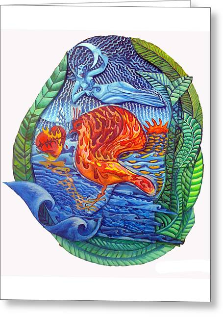 Angel Mermaids Ocean Greeting Cards - Sun Setting on the Age of Pisces Greeting Card by Joanna Whitney