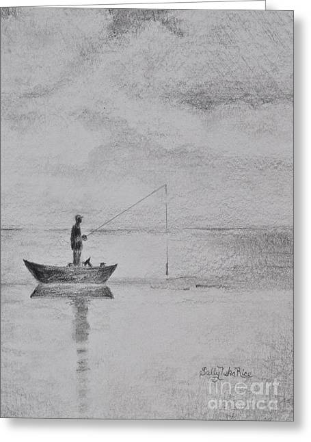 Fishing Boats Greeting Cards - Sunday Fishing Greeting Card by Sally Rice