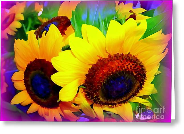 Floral Digital Art Digital Art Greeting Cards - Sunflower Pop Greeting Card by Ed Weidman