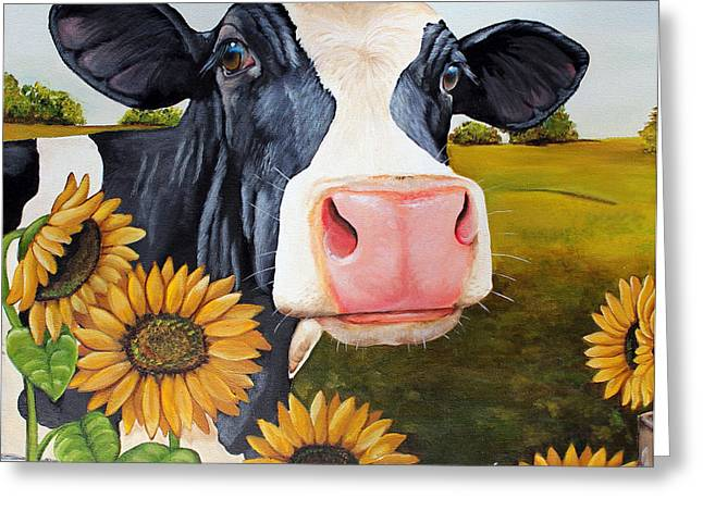 Moo Moo Greeting Cards - Sunflower Sally Greeting Card by Laura Carey