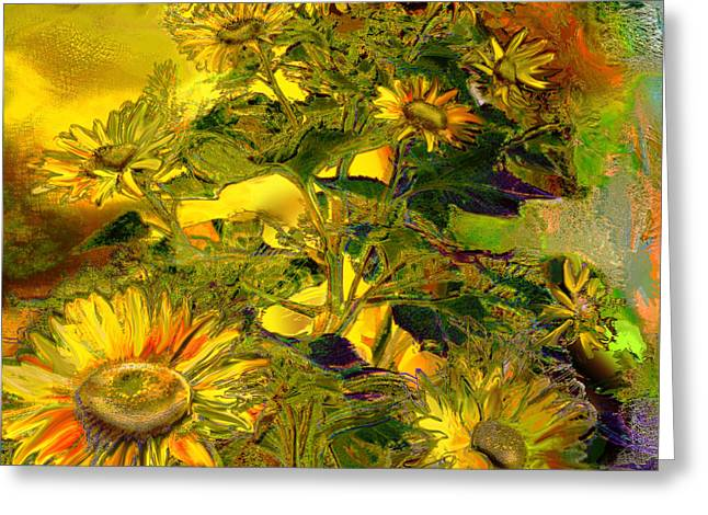 Blooming Mixed Media Greeting Cards - Sunflowers Greeting Card by Anne Weirich