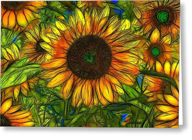 Abstract Digital Digital Greeting Cards - Sunflowers Greeting Card by Jean-Marc Lacombe