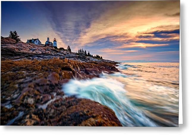 Summer Sunrise At Pemaquid Point Greeting Card by Rick Berk