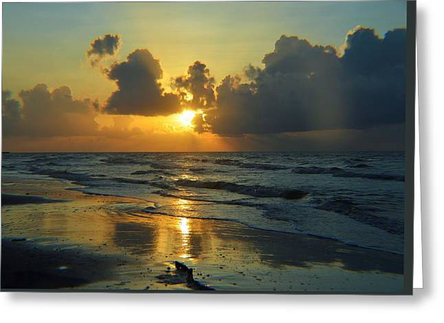 Blue Green Wave Greeting Cards - Sunrise Greeting Card by Cynthia Bailey