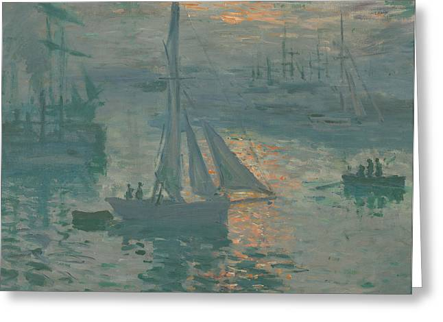 Sailing Ship Greeting Cards - Sunrise  Marine Greeting Card by Claude Monet