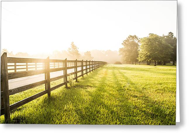 Dazed Greeting Cards - Sunrise on the Farm Greeting Card by Shelby  Young