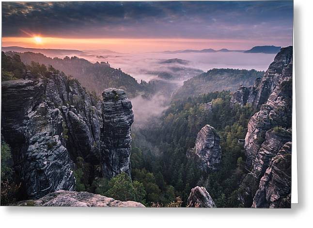 H Greeting Cards - Sunrise On The Rocks Greeting Card by Andreas Wonisch