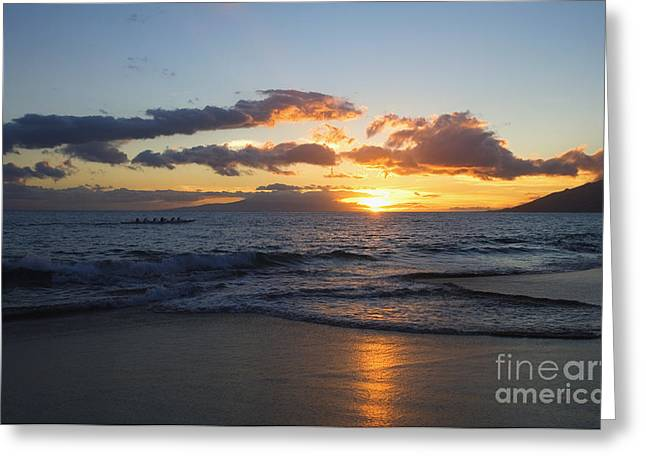 Colorful Cloud Formations Greeting Cards - Sunset at Kamaole Beach Greeting Card by Ron Dahlquist - Printscapes