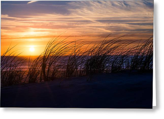sunset at the North Sea Greeting Card by Hannes Cmarits
