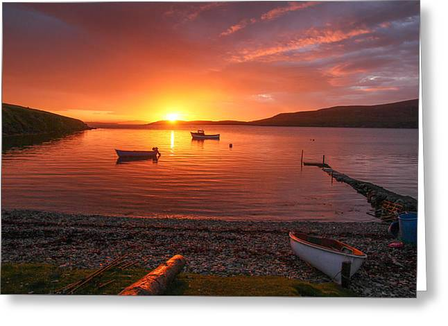 Reflection Of Sun In Clouds Greeting Cards - Sunset At Trondra Shetland Greeting Card by Anne Macdonald
