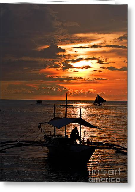 Asien Greeting Cards - sunset at White Beach Greeting Card by Joerg Lingnau