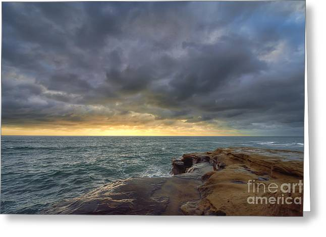 Blue Green Wave Greeting Cards - Sunset Cliffs Greeting Card by Eddie Yerkish