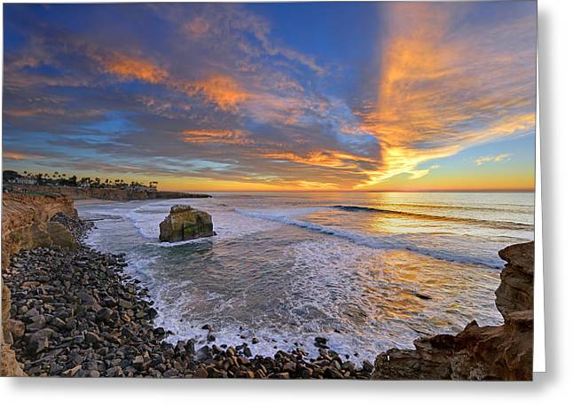 Beauty Mark Greeting Cards - Sunset Cliffs Greeting Card by Mark Whitt