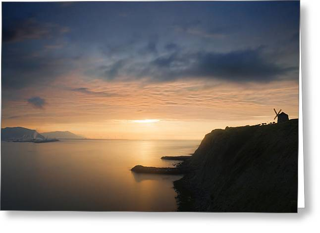 sunset in Getxo with Aixerrota mill silhouette Greeting Card by Mikel Martinez de Osaba